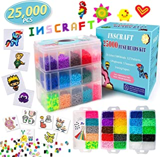 Fuse Beads, 25,000 pcs Fuse Beads Kit 26 Colors 5MM, Including 127 Patterns, 4 Big Square Pegboards, 1 Heart Pegboards, 1 Flower Pegboards, Ironing Paper, Tweezers, Perler Beads Compatible by INSCRAFT