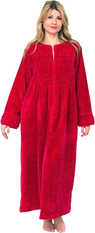 Bath & Robes Women's Chenille Full Length 100% Cotton Robe