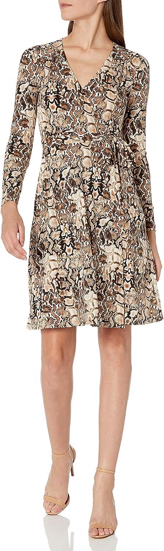 Donna Morgan Women's Matte Jersey Printed Faux Wrap Dress