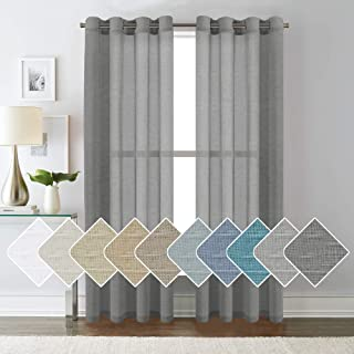 H.VERSAILTEX Open Weave Linen Curtains 84 Inches Long Semi Sheer Charcoal Curtains - Privacy Added Nickel Grommet Linen Curtain Panels for Living Room/Bedroom (2 Panels)
