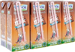 Lacnor Essentials Chocolate Milk, 100% Natural, Low Fat ,Rich in Vitamin and Calcium, 180 ML Pack of 8