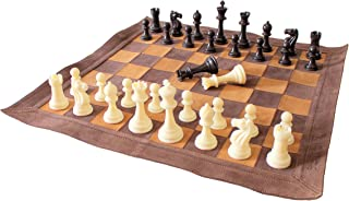 """Stonkraft 19"""" x 19"""" Genuine Leather Roll-Up Tournament Chess Set - with Plastic Chess Pieces - Brown Colour"""