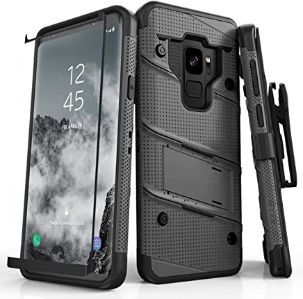 Zizo Bolt Series Samsung Galaxy S9 Case - Full Curved Glass Screen Protector with Holster and 12ft Military Grade Drop Tested (Gun Metal Gray)