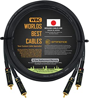 2 Foot – Audiophile High-Definition Audio Interconnect Cable Pair Custom Made by WORLDS BEST CABLES – Using Mogami 2497 Wi...