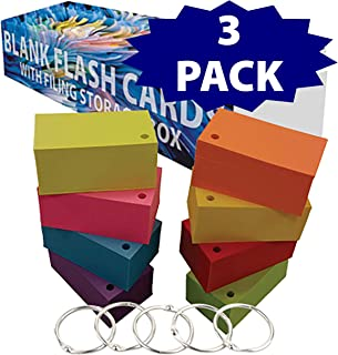 Debra Dale Designs - Blank Flash Cards - 3.5 x 2 Inches - 8 Bright Colors - Extra Heavy 100# Cover Card Stock - 253 GSM - .0118 Thick (8 Color - 3 Pack Punched)