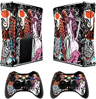 Skin for Xbox 360 Slim Sticker Decals for X360 Custom Cover Skins for Xbox360 Slim Modded Console Game Accessories Set Decal Stickers with 2 Wireless Remote Controllers - Tsunami