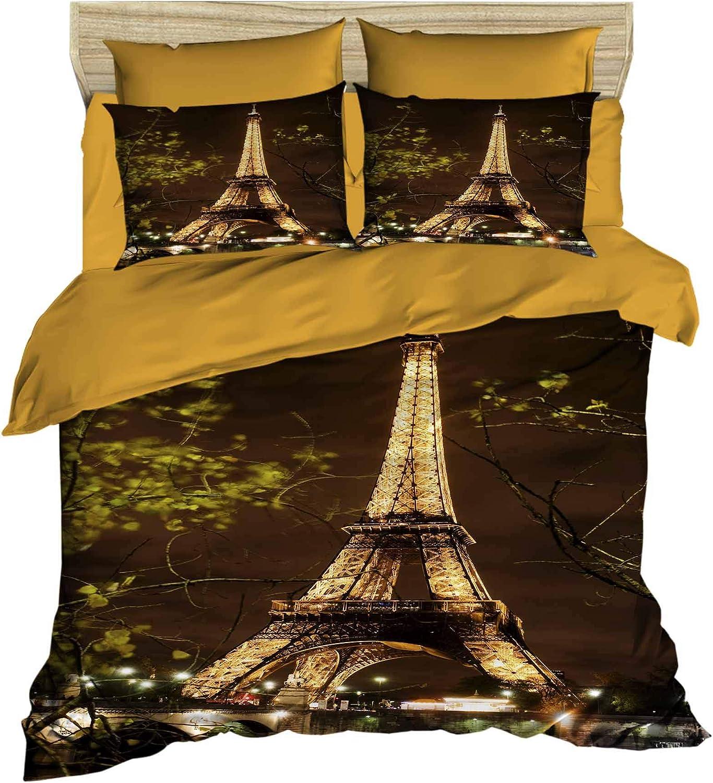 Amazon Com Decomood 3d Paris Bedding Set Lighting Eiffel Tower Themed Quilt Duvet Cover Set Multi Color 4 Pieces King Size King Kitchen Dining