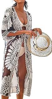 Women's Black Sunflower Crochet Scallop Cover Up