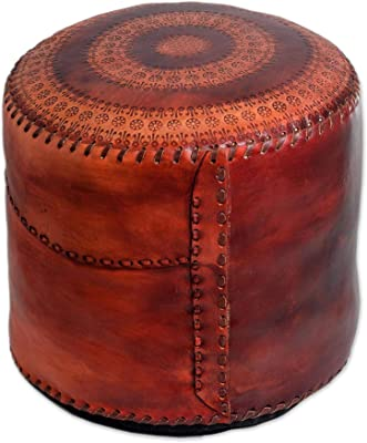 NOVICA 69682 Sunflower Leather Ottoman Cover, Red