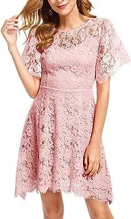 Women's Elegant Round Neck Flutter Short Sleeves Lace Floral Cocktail Party A Line Dress 943