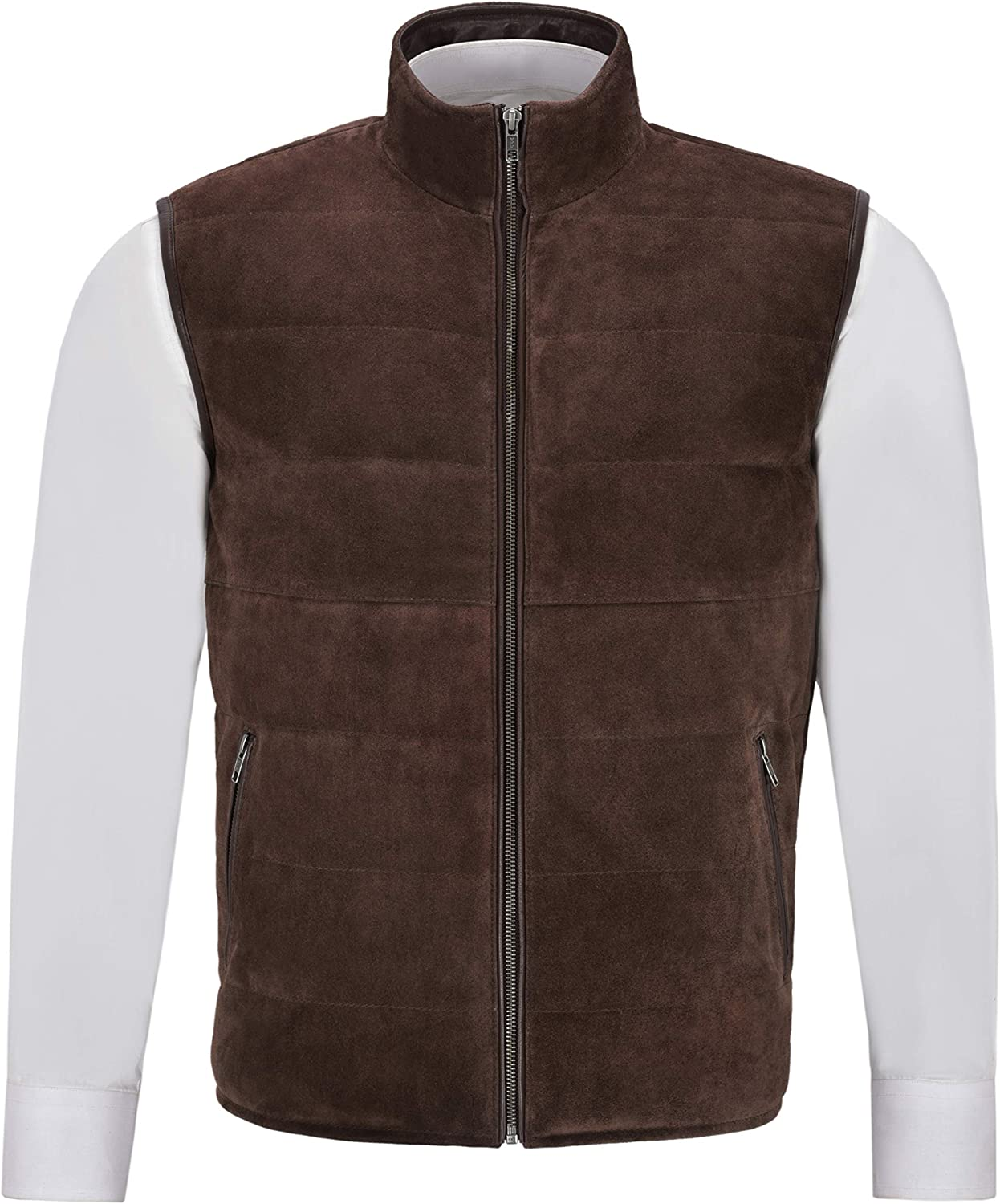 Men's Quilted Sale Leather Waistcoat Brown Fashion Max 43% OFF Real Suede