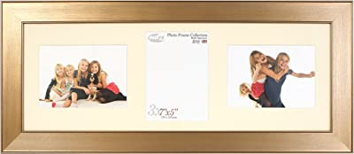 Inov8 British Made Picture/Photo Triple Aperture Frame with 1 Portrait and 7 x 5-Inch 2 Landscape Inserts, Pack of 2, Twin Edge Bronze
