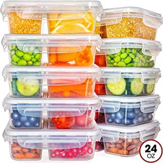 Food Storage Containers with Lids - Divided Lunch Containers (24 Ounce, 10 Pack) Plastic Food Containers with Lids Meal Prep Containers 2 Compartment Plastic Containers with Lids Food Prep Containers