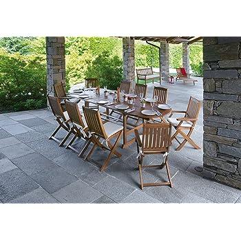 Import Set Pranzo per Giardini in Legno di Acacia con Tavolo allungabile sedie e Cuscini Otto posti Set Tavolo e sedie da Giardino