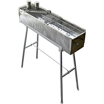 """Party Griller Yakitori Grill 32"""" x 8"""" w/Double Mesh Grill Grate - Portable Stainless Steel Charcoal BBQ Grill. Great Satay, Japanese Hibachi. Makes Juicy Lamb Shish Kebab, Shashlik, Spiedini Skewer"""