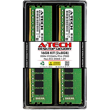 2 x 8GB AT316624SRV-X2R5 DDR4 PC4-17000 2133Mhz ECC Registered RDIMM 2Rx8 A-Tech 16GB Kit for Dell PowerEdge C4130 Server Memory Ram Equivalent to OEM A7910487 SNPH8PGNC//8G
