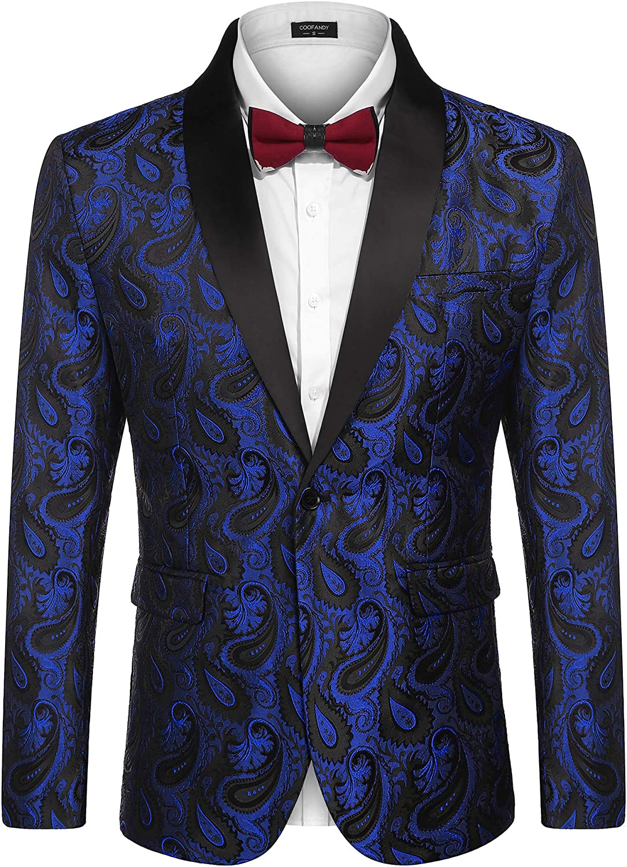 favorite COOFANDY Mens Floral Tuxedo Jacket Quantity limited Paisley Lapel Blaz Suit Shawl