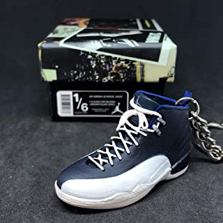 Air Jordan XII 12 Retro Obsidian French Blue White OG Sneakers Shoes 3D Keychain 1:6 Figure + Shoe Box