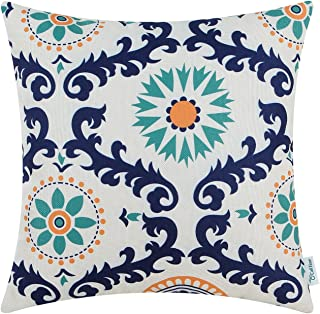 CaliTime Canvas Throw Pillow Cover Case for Couch Sofa Home Decoration Three-Tone Dahlia Floral Compass Geometric 18 X 18 Inches Navy/Teal/Orange