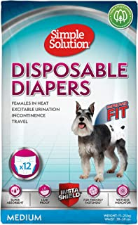 Simple Solution pañales desechables para perro hembra, mediano (Pack de 12)