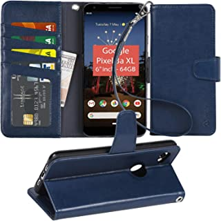 Pixel 3A XL Case, Arae PU Leather Wallet case for Google Pixel 3A XL with Wrist Strap and ID&Credit Cards Pocket (Blue)