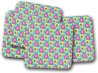 Posavasos en verde con diseño inspirado en gotas de lluvia amarillas, rosas, blancas y grises, posavasos individuales o ju...