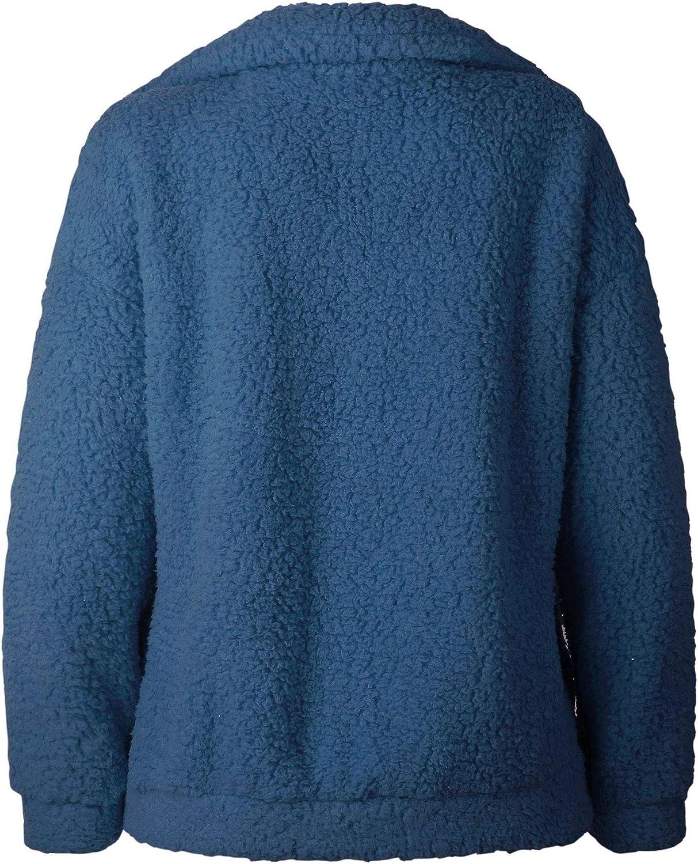 ECOWISH Women's Sherpa Jacket Casual Lapel Fleece Fuzzy Faux Shearling Zipper Teddy Coat Oversized Outwear
