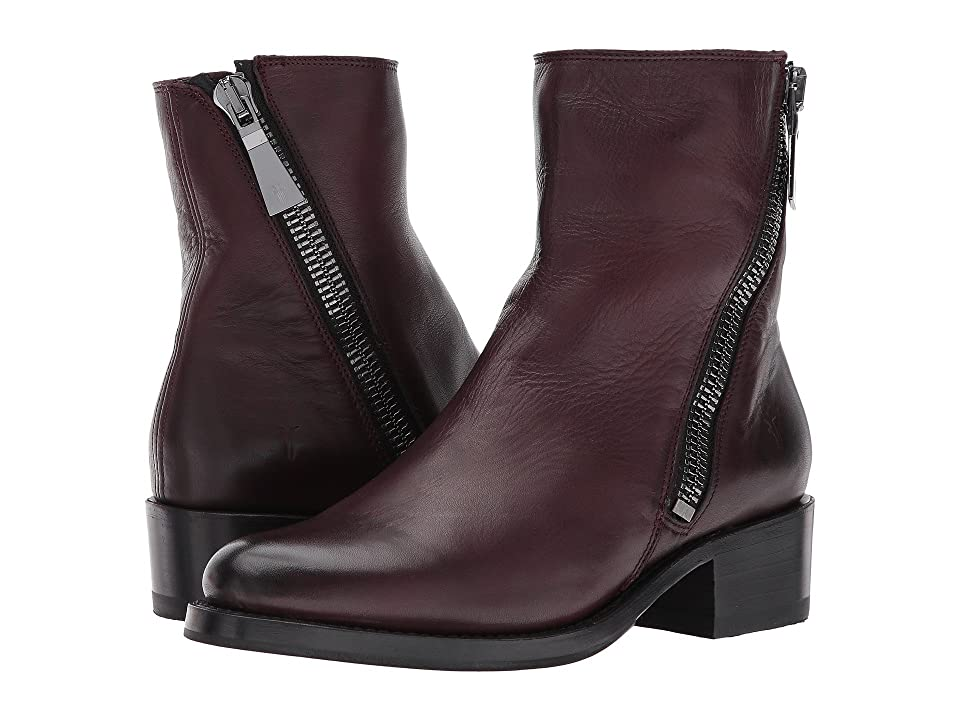 Frye Demi Zip Bootie (Wine Polished Soft Full Grain) Women