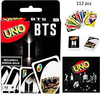 YIAI BTS UNO Cards Game Special Celebrate Photo Card Set Dos Flip Uno Playing Card Game (Black)