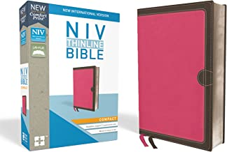 NIV, Thinline Bible, Compact, Leathersoft, Pink/Brown, Red Letter Edition, Comfort Print