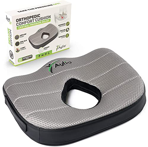 Aylio Donut Luxury Seat Cushion Memory Foam Pillow for Hemorrhoids, Prostate, Pregnancy, Pressure Sores