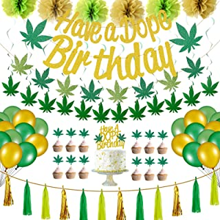 67 Pieces Pot Weed Leaves Birthday Decoration Set Pot Leaves Birthday Banner Glittery Weed Hanging Banner Cake Topper Pape...