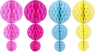 Beautyflier ® 4'', 6'' and 8'' 4Color Assorted Decorative Tissue Paper Honeycomb Balls, Tissue Paper Flower Ball Bee Pom Poms for Birthday Decoration, Wedding Decor, Party Decor