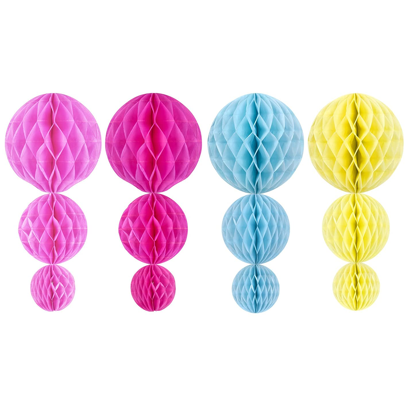 Beautyflier ? 4'', 6'' and 8'' 4Color Assorted Decorative Tissue Paper Honeycomb Balls, Tissue Paper Flower Ball Bee Pom Poms for Birthday Decoration, Wedding Decor, Party Decor