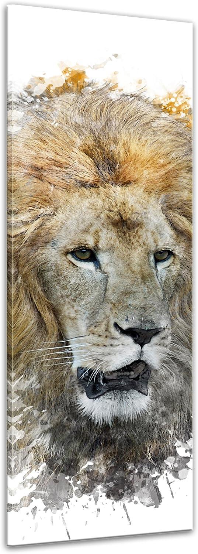 Kunstdruck - - - Aquarell - Löwe - Bild auf Leinwand 40 x 120 cm einteilig - Leinwandbilder - Bilder als Leinwanddruck - Tierwelten - Malerei - Wildtier - Mähne - afrikanische Grosskatze B01N9SZ02J 962cac