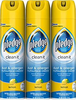 Pledge Dust & Allergen Multi-Surface Cleaner Spray, Works on Leather, Granite, Wood, and Stainless Steal, Lemon, 9.7 oz - Pack of 3