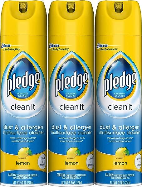 Pledge Dust Allergen Multisurface Cleaner Lemon 9 7 Oz 3 Ct