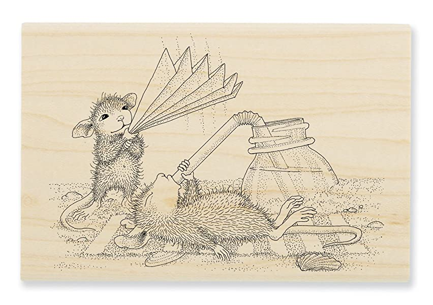 STAMPENDOUS House Mouse Wood Stamp, Keeping Cool