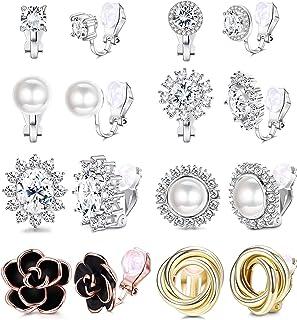 Yadoca 8 paia di orecchini a clip per le donne Fashion Rose Flower CZ simulato perle d'acqua dolce nodo di torsione non fo...