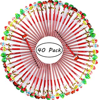 Etmact 40 Pack Assorted Colorful Holiday Christmas Pencil With Eraser Novelty Dot & Stripe Giant Eraser Topper Kids Pencils Kids Pencils Pencils For Kids Pencil Pack Pencils Bulk Giant Pencil