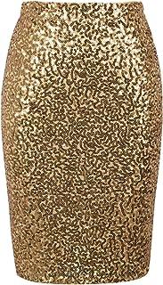 PrettyGuide Women's Sequin Skirt High Waist Sparkle Pencil Skirt Party Cocktail L Gold