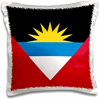 3dRose Bandera de Antigua y Barbuda individual islands – rojo blanco azul negro con sol amarillo creciente – patriótico – funda de almohada, 16 por 16 pulgadas (pc_157819_1)