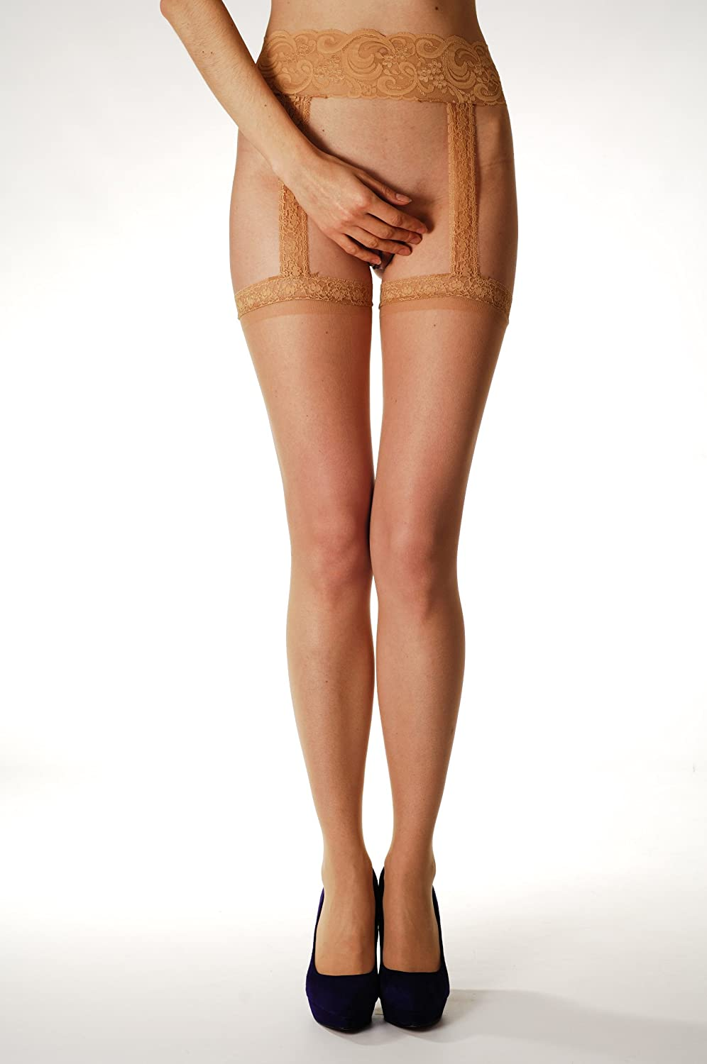 Nude Seamed Stockings with Attached Suspender Belt (plus size) - Stockings