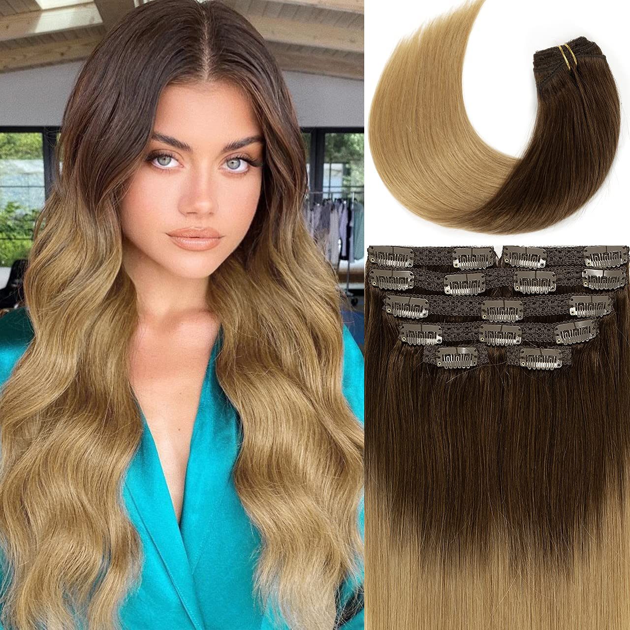 LacerHair 22 Inch low-pricing Clip in Human Darker Ombre Bro Extensions OFFicial Hair