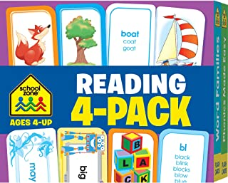 School Zone - Reading Flash Card 4-Pack - Ages 4 and Up, Short and Long Vowel Sounds, Combination Sounds, Rhyming, and Mor...
