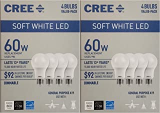 Cree 60 Watt Equivalent, Soft White, Dimmable, A19 LED Light Bulb, 8-Pack