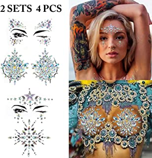 Body Tattoo Sticker, Fascigirl 4 Bohemian Rhinestone Crystal Mermaid Tears Stickers Halloween Rave Party Festival Metallic Shiny Gems Glitter Temporary Face Body Tattoos Jewels
