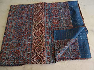 Blue Red Ajrakh Traditional Kantha Quilt, Twin Size Hand Stitch Kantha Ajrakh Bed-Cover, Indian Bohemian Kantha Ajrakh Quilt (Multi)