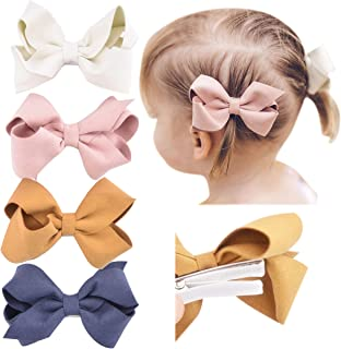 Premium Faux Leather Bow Hair Clips for Toddler, Girls, Mixed Set of 4 or 6…