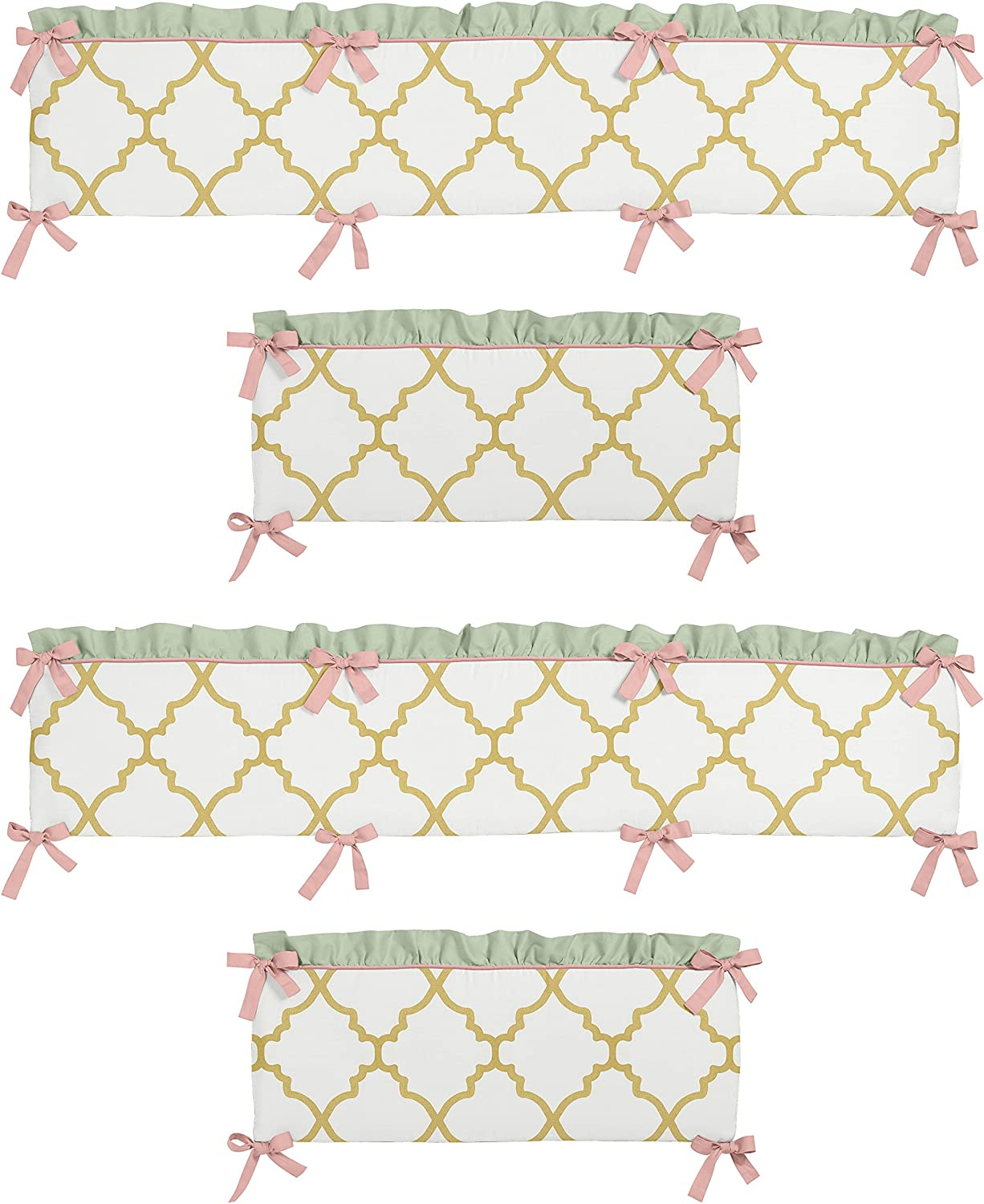 Sweet Jojo Designs Mint Coral White and gold Trellis Ava Girls Baby Bedding Set Collection Crib Bumper